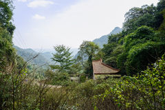 Aged Chinese traditional building in mountain on sunny day Royalty Free Stock Photography