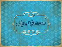 Aged Christmas vintage frame with snowflakes Royalty Free Stock Photos