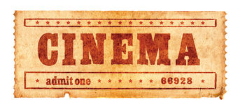 Aged cinema ticket 2. Second in the cinema ticket series Stock Image