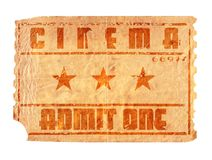 Aged cinema ticket. An aged and torn cinema ticket Stock Photos