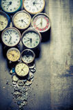 Aged clocks and the parts Royalty Free Stock Photo