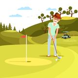 Aged Concentrated Man Shooting Golf Ball to Hole. Aged Concentrated Man Shooting Ball to Hole on Beautiful Summer Landscape Background. Relaxing Elderly Person royalty free illustration
