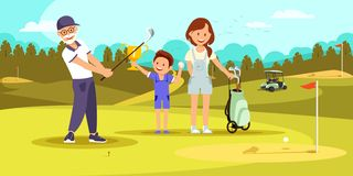 Aged Concentrated Man Shooting Golf Ball at Course. Aged Concentrated Man Shooting Golf Ball While Playing at Green Course. Young Woman and Little Boy Cheering vector illustration