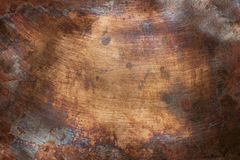 Old copper texture. Aged copper plate texture, old worn metal background Stock Photo
