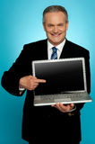 Aged corporate male pointing at laptop screen Royalty Free Stock Photo