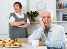 Aged couple arguing Royalty Free Stock Photo