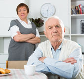 Aged couple arguing Stock Image