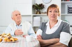 Aged couple arguing Stock Photos