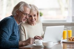 Senior couple using laptop while having breakfast at home. Aged couple busy look at laptop screen while having delicious breakfast at home kitchen, excited stock image