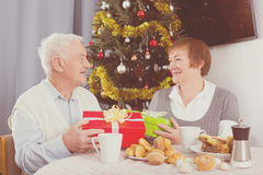 Aged couple exchanging gifts stock photography