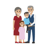 Aged Couple, Grandson with Granddaughter Isolated. Aged couple and grandson with granddaughter isolated. Happy senior man and woman together with grandchildren Royalty Free Stock Photo