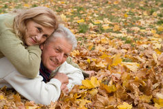 Aged couple on leaves Stock Image