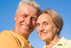 Aged couple at nature Stock Photos