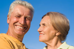 Aged couple at nature Royalty Free Stock Photos