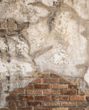 Aged cracked concrete and brick wall background Royalty Free Stock Photos