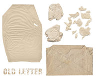 Aged crumpled paper and old envelope Royalty Free Stock Image