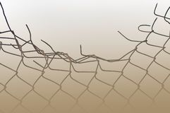 Aged crushed rusty wire security fence sepia mist Royalty Free Stock Images