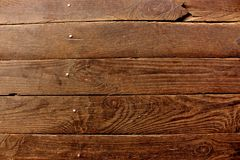 Aged dark brown wooden boards planks with metal nails as grunge wooden background. Aged tree boards Stock Images
