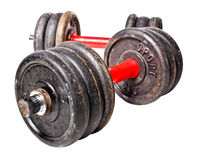Aged dumbbell. Aged rusty dumbbell isolated on white background Stock Images