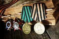 Aged effect medals world war great composition Royalty Free Stock Images