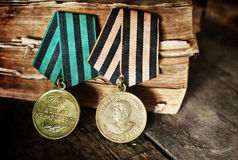 Aged effect medals world war great composition. Old military awards to participants of military operations during the Second World War Stock Image