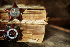 Aged effect medals world war great composition. Old military awards to participants of military operations during the Second World War Royalty Free Stock Images