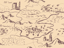 Aged fantasy vintage seamless map with mountains, buildings, trees, hills, river. Hand drawn fairytale historic treasure map. Seamless background Stock Photos