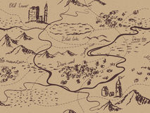 Aged fantasy vintage seamless map with mountains, buildings, trees, hills, river. Hand drawn fairytale historic treasure map. Seamless texture on craft paper Stock Photos