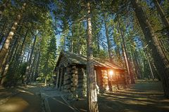 Aged Forest Cabin. Aged Forest Log Cabin Somewhere in Sierra Nevada Mountains, United States Royalty Free Stock Photos