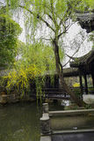 Aged gallery by pond in spring,China Stock Photography
