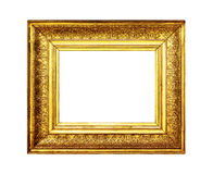 Aged gold frame border isolated on white Royalty Free Stock Photo