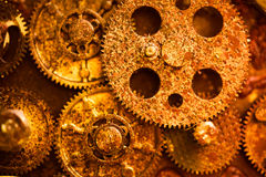 Aged golden gear wheels Stock Image