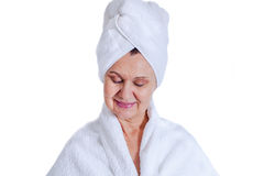 Aged good looking woman. Spa and cosmetic concept Stock Images