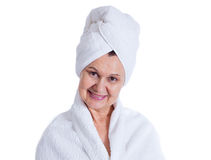 Aged good looking woman. Spa and cosmetic concept Royalty Free Stock Image