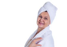Aged good looking woman. Spa and cosmetic concept Royalty Free Stock Photos