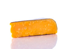 Aged Gouda Cheese on White Background. Yellow aged gouda cheese  on white background Royalty Free Stock Photos