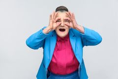 Aged grandmother with shocked face stock photos