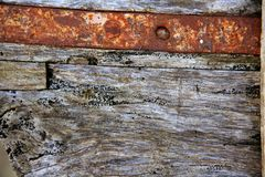 Aged gray wood and rusted iron steel Stock Photos
