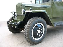 Aged green military lorry truck stock image