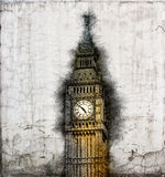Aged grunge document with Big Ben clock tower Stock Image