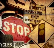 Aged grunge vintage sign collage Royalty Free Stock Images