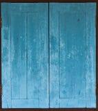 Aged grunge weathered blue window wood Stock Photo