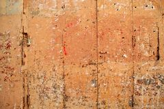 Aged grunge wooden pink orange painted door Royalty Free Stock Photos