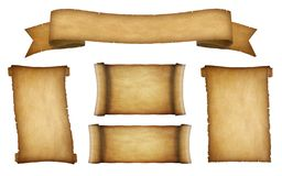 Paper scroll banner collection 4. Aged grunge and yellowed paper scrolls. Isolated on white background stock illustration