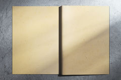Aged hardcover notebook. Back view of open aged hardcover notebook on concrete background. Mock up, 3D Rendering Stock Photos