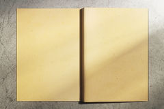 Aged hardcover notepad. Back view of open aged hardcover notepad on concrete background. Mock up, 3D Rendering Royalty Free Stock Photo