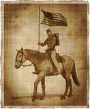 Aged Image of a Civil War Union Soldier on Horseback Stock Photos