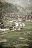 Aged image of Dong Chinese Village on the rice terrace Royalty Free Stock Image