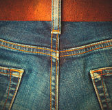 Aged jeans, back view Royalty Free Stock Photos