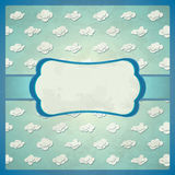 Aged lace frame with clouds Royalty Free Stock Photos